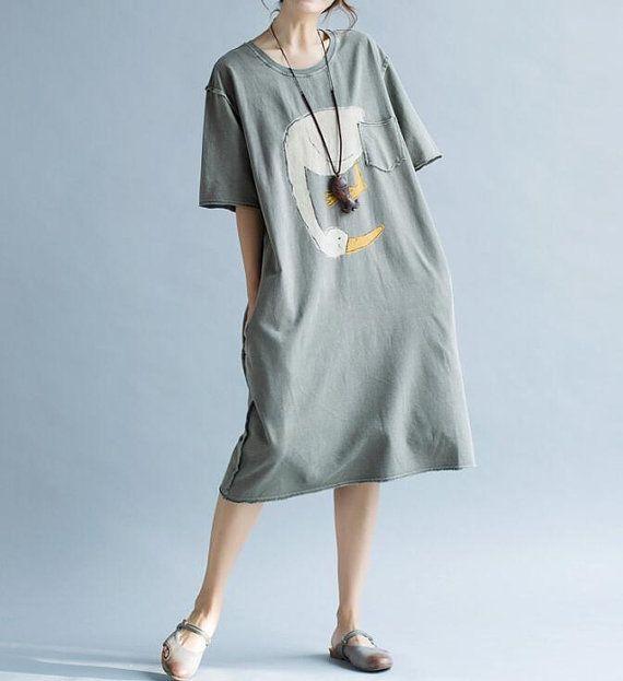 Gray/ Army Green Large size dress long cotton T-shirt от MaLieb