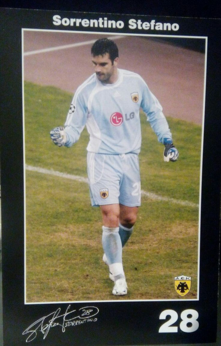 Sorrentino Stefano Date of birth28 March 1979(age37)Place of birthCava de' Tirreni, ItalyHeight1.83m (6ft 0in)Playing positionGoalkeeperClub information  Current team  ChievoNumber70Youth career1996–1997Lazio1997–1998JuventusSenior career*YearsTeamApps(Gls)1998–2005Torino89(0)1999–2000→Juve Stabia(loan)0(0)2000–2001→Varese(loan)30(0)2005–2009AEK Athens50(0)2007–2008→Recreativo(loan)38(0)2008–2009→Chievo(loan)32(0)2009–2013Chievo131(0)2013–2016Palermo117(0)2016–Chievo0(0