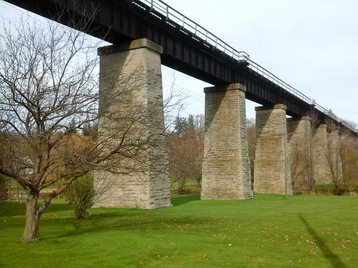 Grand Trunk Railway viaduct over Trout Creek, St Marys. Built in 1857-60, the 11 stone piers are 66-feet apart and 70-feet high.