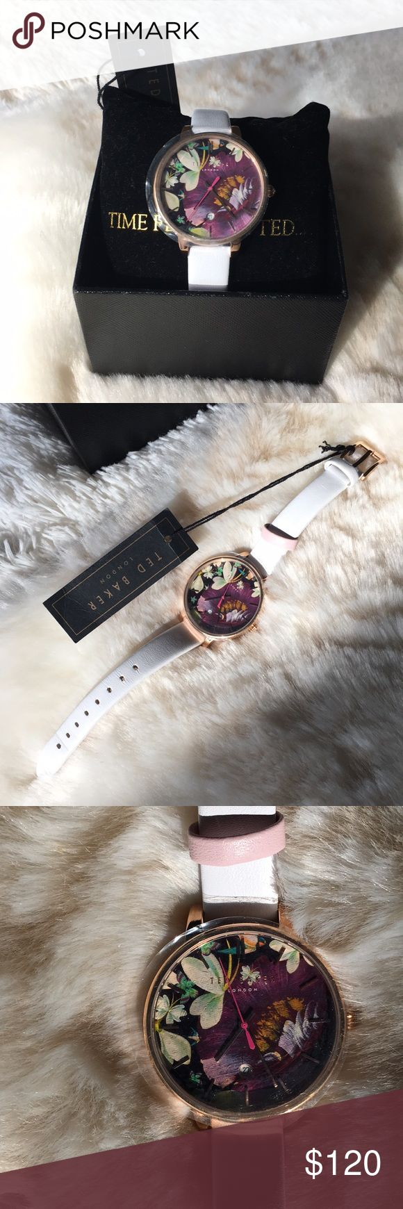 Ted Baker Kate Watch Purple Floral Face/White Band BNWT, never-worn, perfect condition Ted Baker Kate watch from the Classic Charm collection! Even has plastic on watch face still! White leather band, rose gold hardware, purple face with beautiful flowers. Tells time as well as day of the month! Original purchase price=$155. Comes with box! Great for Spring/Easter!! **Going out of town on 3/6, so last day to ship is 3/5. Make an offer soon!** Ted Baker Accessories Watches