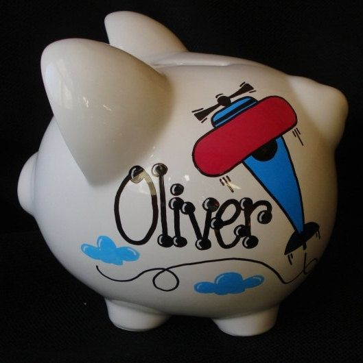 Personalized Airplane Piggy Bank by Dizigns on Etsy
