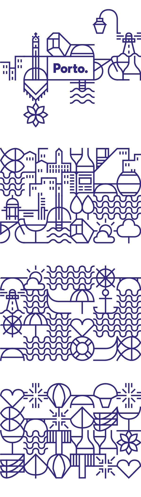 vi que já tinham postado sobre a marca do porto, aí achei essas ilustrações/padronagem (não sei como chamar) que fazem parte da identidade.