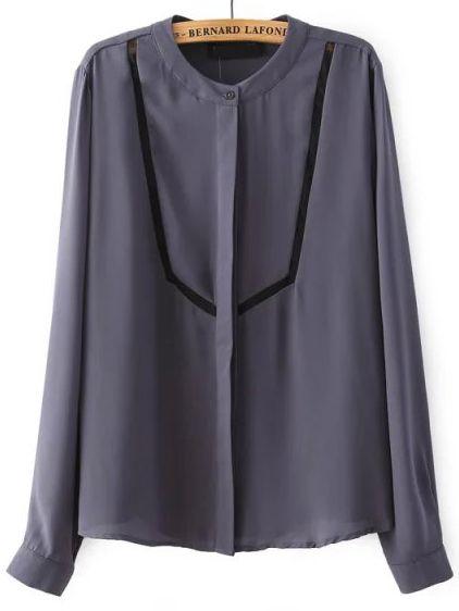 Grey Stand Collar Contrast Organza Chiffon Blouse 18.20