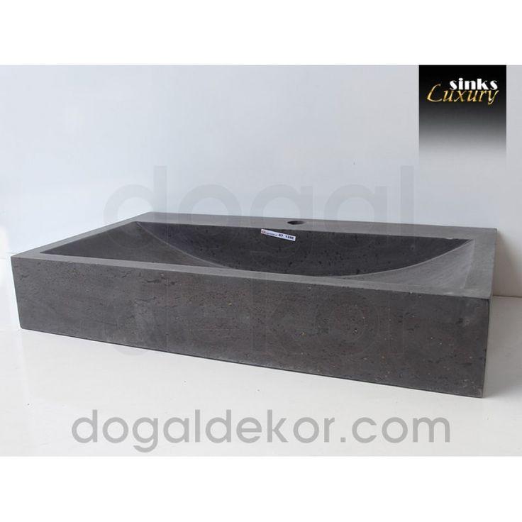 Doğaltaş Siyah Mermer Tezgah Üstü Banyo Dolap Lavabosu- DT1240