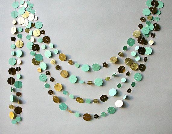 Gold mint garland, Mint gold wedding decor, Metallic garland, Shimmer garland, Paper garland, Birthday Decorations, KM-C-0001r,Home decor