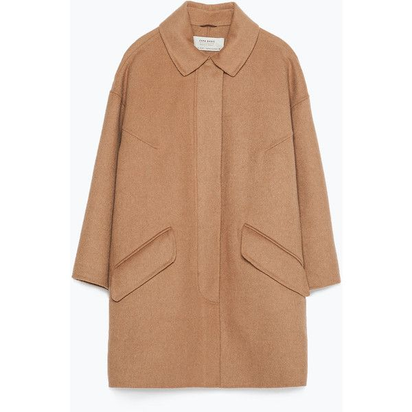 Zara Hand Made Coat (£55) ❤ liked on Polyvore featuring outerwear, coats, jackets, tops, camel, beige coat, camel coat and zara coat