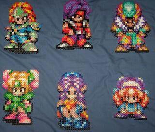 Seiken Densetsu 3 fused bead characters: Angela, Lise, Carly, Duran, Hawk, Kevin