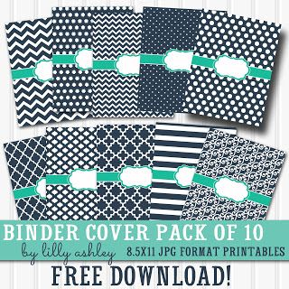 Free printable binder covers set of 10! Chevron, polka dot, stripes, quatrefoil, and more!! Great for school notebooks, planner binders, recipe binders.                                                                                                                                                                                 More