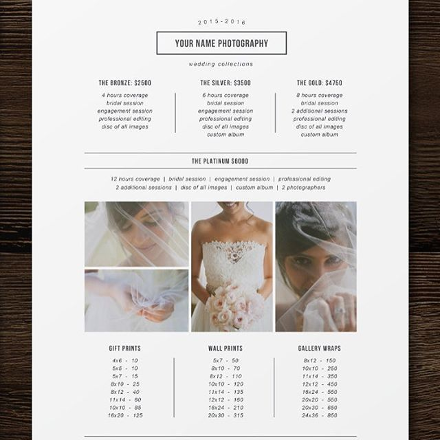 Free Photographer Pricing Guide Template                                                                                                                                                                                 More