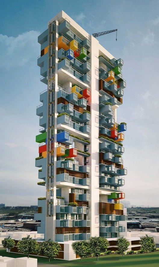 Shipping Container Skyscaper in Dharavi Slum in Mumbai by GA Design