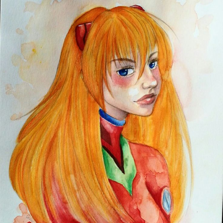 Asuka Langley Soryu from Neon Genesis Evangelion watercolor drawing by Magdalena Leszczyniak
