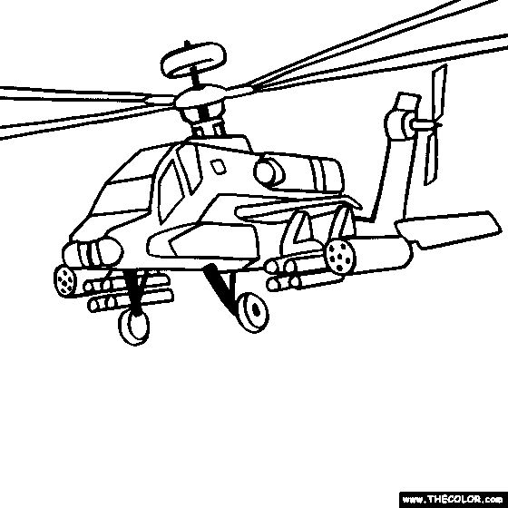 Boeing AH64 Apache Military Helicopter Coloring