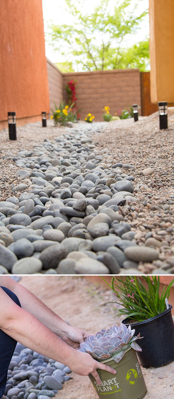 This yard drainage project is in a desert setting, but it could work wonderfully in other regions, too. It was designed by Caitlin Ketcham of Desert Domicile. See the tutorial on The Home Depot Blog. || @desertdomicile