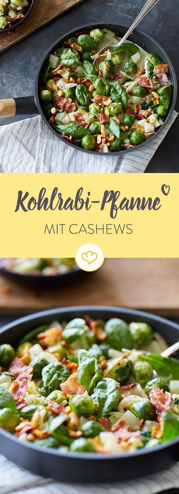 Kohlrabi und Rosenkohl suhlen sich mit Spinat und Sahne in der Pfanne und warten auf knusprigen Bacon und würzige Cashews - lecker und schnell gemacht!
