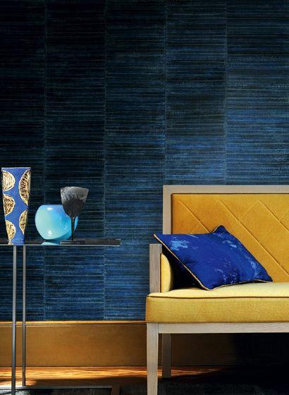 Blau mit Gelb kombiniert: Tapete Anguille von Élitis