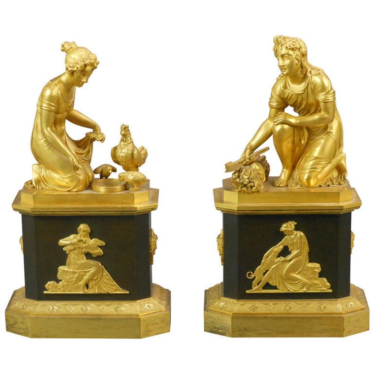 A Pair of Empire Gilt Bronze Figural Chenets   From a unique collection of antique and modern decorative objects at http://www.1stdibs.com/furniture/more-furniture-collectibles/decorative-objects/