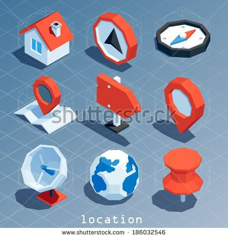 colored polygonal isometric location icon set - stock vector