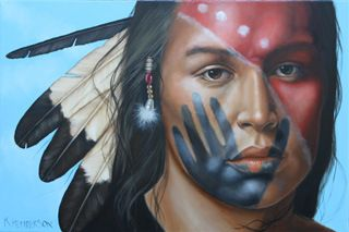 indian face paint   courage and honor is an oil painting on canvas 20 x 30