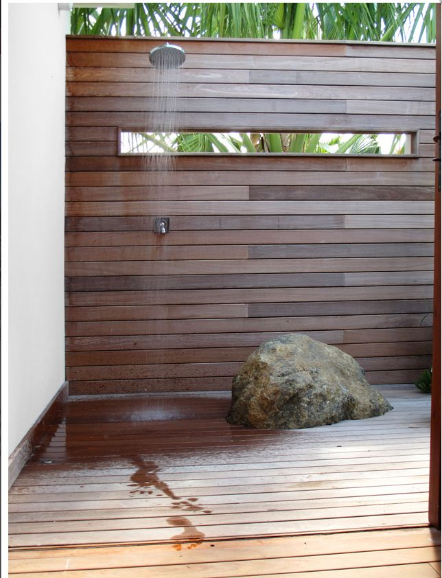 "I like this shower design, plus the window at eye level. We will need to build a ""path"" that is still private from the hot tub to the shower. The shower could be on the privacy wall for the hot tub, but then need a way to get to the shower while still private, so neighbors can't see."