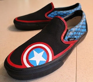 probably my favorite that I've made. Captain America shoes (custom painted Vans Slip-Ons)