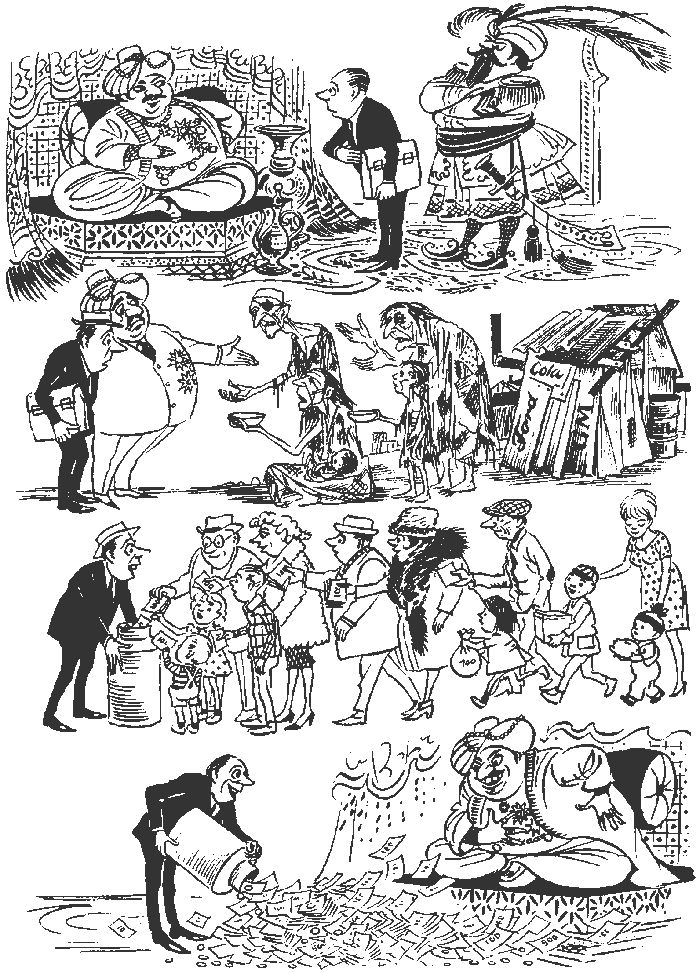 Aid to the Poor. Vintage cartoons by the Danish artist Herluf Bidstrup.