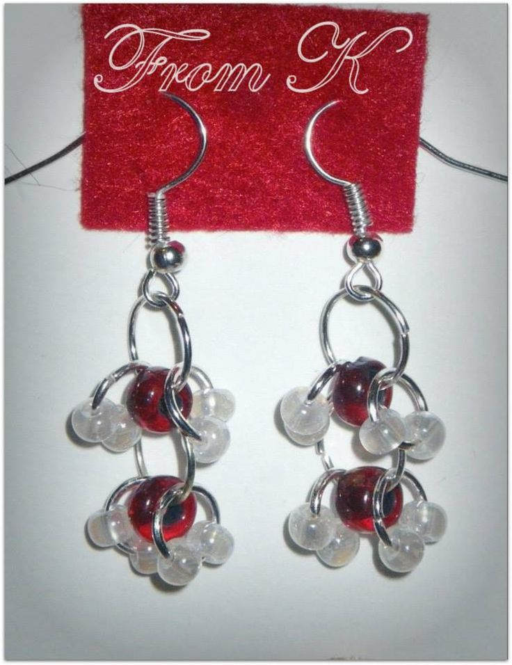 Chainmaille technique earrings with Czech larger seed beads. 3 cm long with ear wear 7 RON (2 Eros)