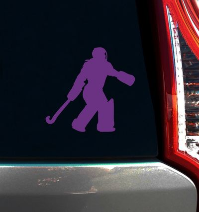 Field hockey goalies will love this cute gift. Field Hockey Goalie Window Decal features a silhouette of a girl in her goalie equipment. Show team spirit!