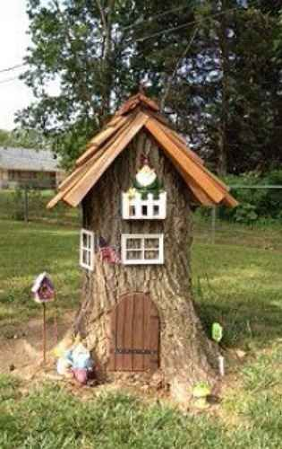 """Turn a tree stump into a """"gnome home,"""" or fairy garden.   41 Cheap And Easy Backyard DIYs You Must Do This Summer"""