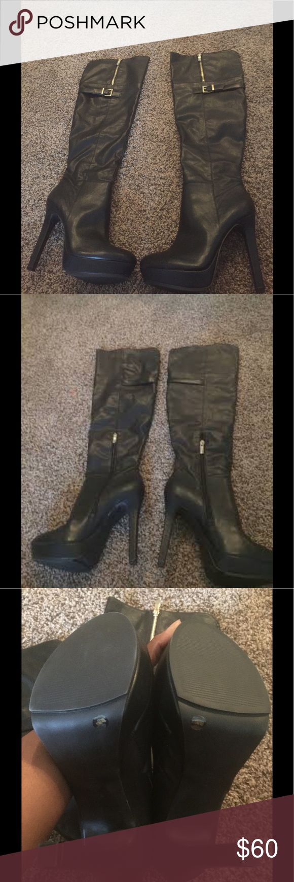 Women's BCBG Over the Knee Black Boots Black, 5in heel, New without Tags BCBGeneration Shoes Over the Knee Boots
