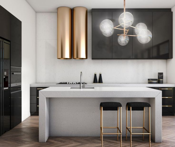 essastone adds a sophisticated touch to this mineral inspired kitchen