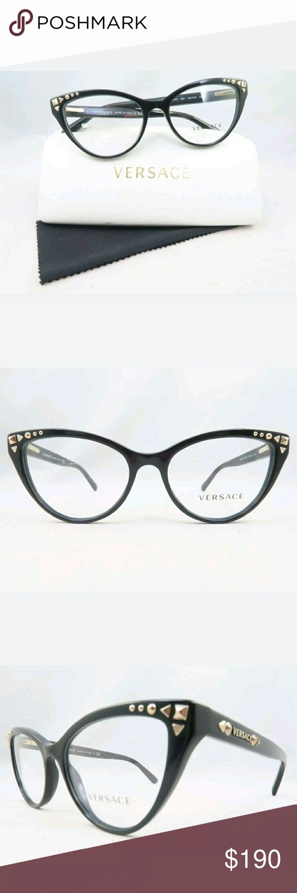 Versace Eyeglasses Authentic and new  Versace Eyeglasses  Black frame  52-16-140  Includes original case Versace Accessories Glasses