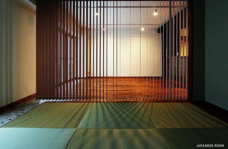 その他事例:和室-縦型ブラインドによる間仕切り(『350 WASABI』和の素材がピリッと際立つモダンな空間)