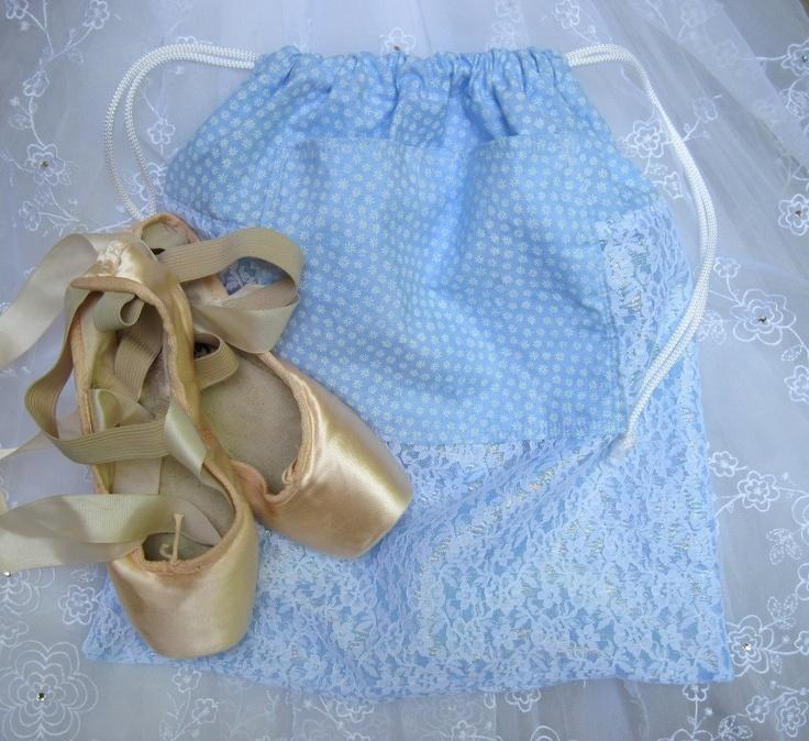 Blue Ballet Shoe Bag, Dance Shoe Bag, Pointe Shoe Bag. $18.00, via Etsy.