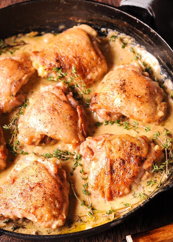 French Style Chicken Thighs In Mustard And Wine Sauce What S In The Pan Dijon Chicken Recipes Mustard Recipe Mustard Chicken Thighs