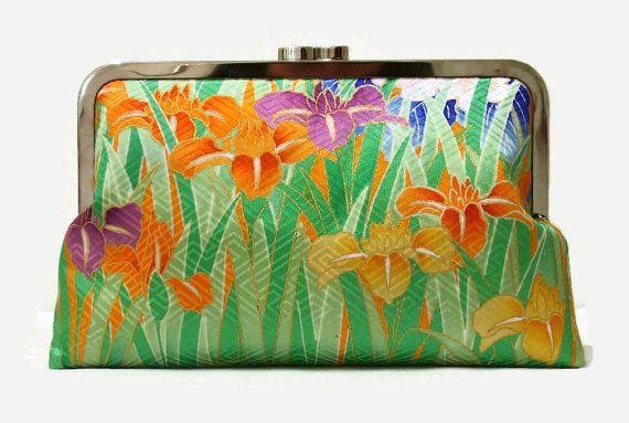 "Green Silk Clutch Purse With A Field Of Iris Flowers Design, Floral Clutch Purse, Summer Clutch Bag Made From Japanese Silk 9"" x 5.5"""
