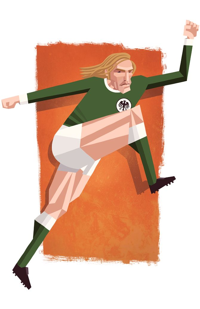 Football Legends - Daniel Nyari Graphic Design & Illustration. Günter Netzer, West Germany.