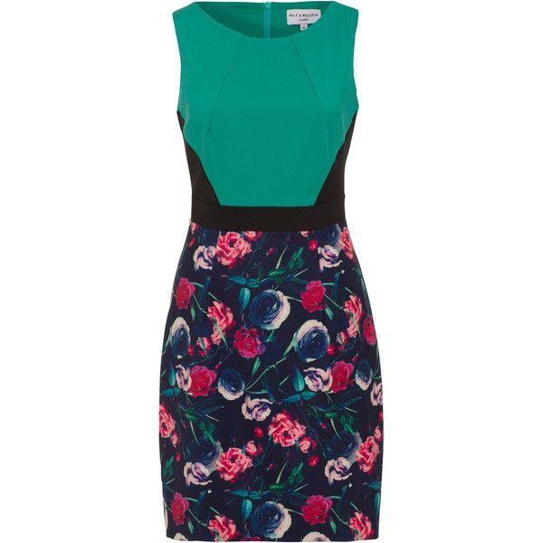 Hummingbird and Rose Colour Block Dress featuring polyvore, women's fashion, clothing, dresses, vestidos, flower print dress, block print dresses, pattern dress, blue pattern dress and rose print dress