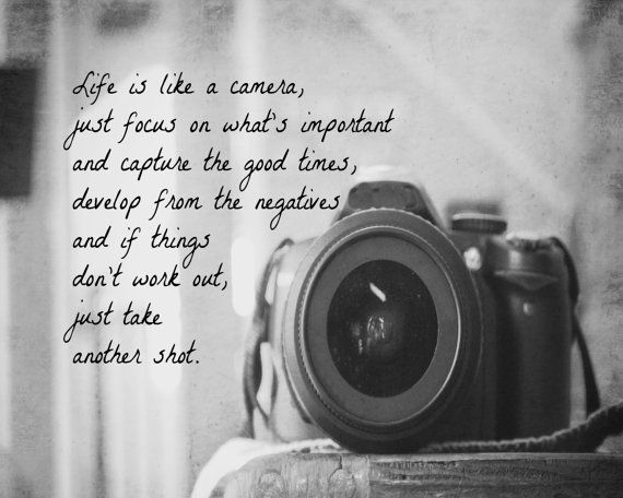 Life is Like a Camera Quote Print Photography Black White Home Decor Wall Art Photographer Gift 8X10 Print Camera Lens