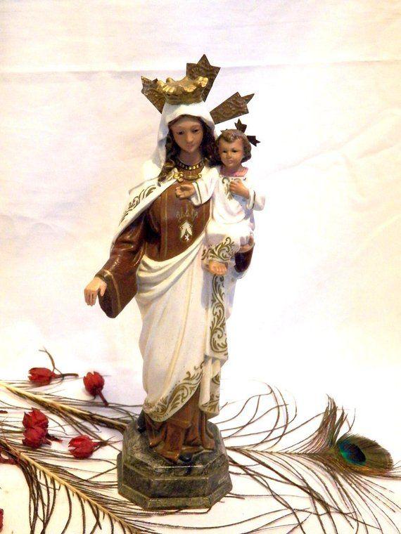 virgen purísima 12 cm imagen religiosa estatua con peana marmol figura antiguo