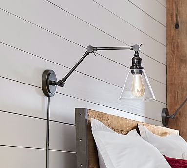 PB Classic Articulating Flared Glass Sconce #potterybarn