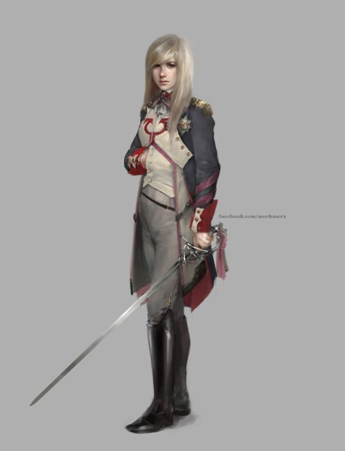 merkymerx:  Thalia, Guardian of Thraben concept I had with historical uniforms in mind. Yup, that's Napoleon. XD