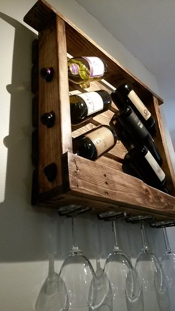 Casier à vin rustique de bois récupéré 6 bouteille par Bustedpallet