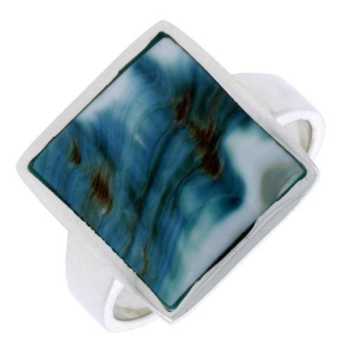 "Sterling Silver Square Shape Shell Ring, w/Blue-Green Mother of Pearl Inlay, 11/16"" (17mm) wide, size 9.5 Sabrina Silver. $35.94"