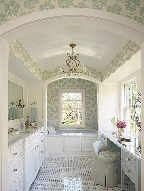 Lynn Chalk - Schumacher Albero Floreale Aqua Wallpaper on Bathroom Walls, Search website for Albero Floreale  to purchase. (http://store.lynnchalk.com/schumacher-albero-floreale-aqua-wallpaper-on-bathroom-walls/)