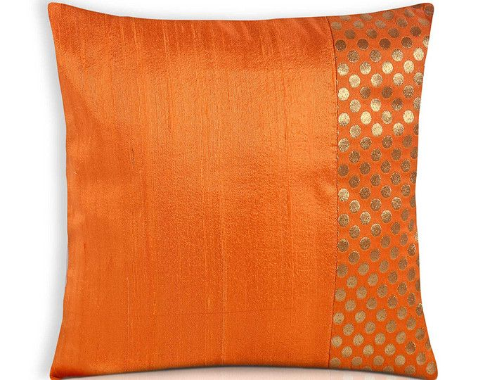 Orange And Gold Polka Dots Silk Cushion Cover Handmade Silk Throw Pillow Decorative Pillow Cov Silk Pillow Cover Silk Cushions Covers Cushion Cover Designs