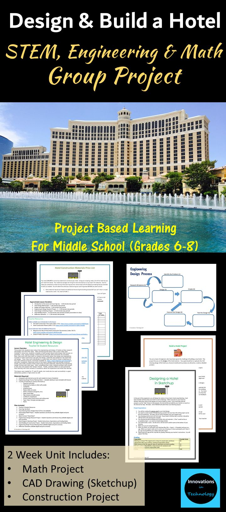 This project lets students learn about the engineering and design of hotels as they research and design one with their team.  Math, CAD design (Sketchup) and hands-on building project, resources, student planning guides, answer keys and reflection questions included.