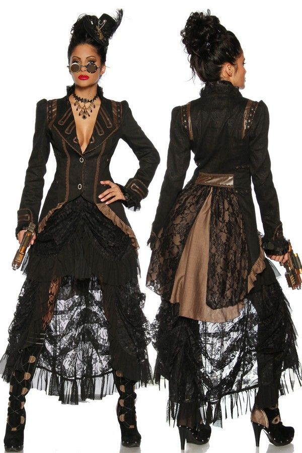 Ladies Steampunk Clothing | Faux Leather and Lace Jacket | Ladies Coats | Steampunk Clothing ...