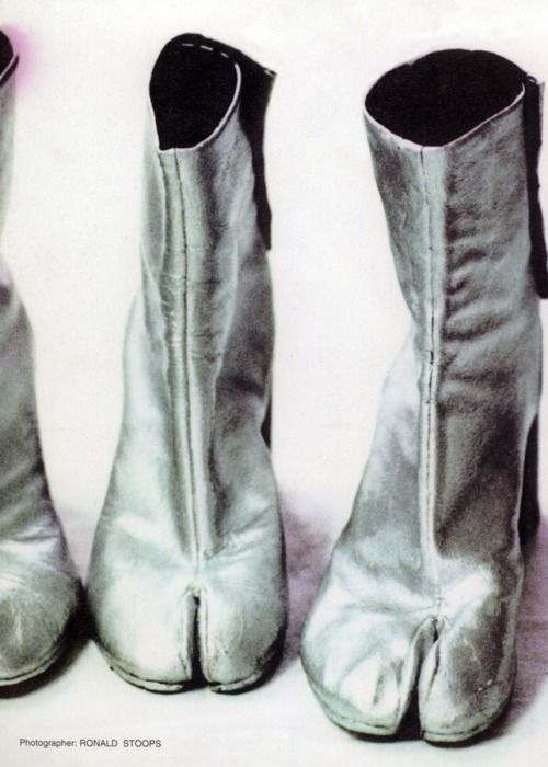 silver-painted tabi boots martin margiela, fall–winter 1989–1990photography ronald stoopsstreet magazine volumes 1 & 2 (1999)