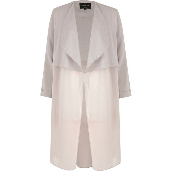 River Island Grey chiffon hem duster jacket ($96) ❤ liked on Polyvore featuring outerwear, jackets, coats, coats / jackets, grey, women, long sleeve jacket, chiffon jacket, grey duster jacket and gray jacket