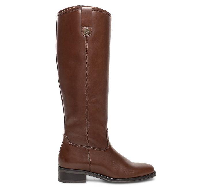 Botte cavalière cuir marron - Bottes - Chaussures femme